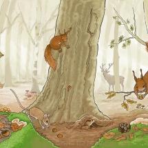 ochtend in het herfstbos